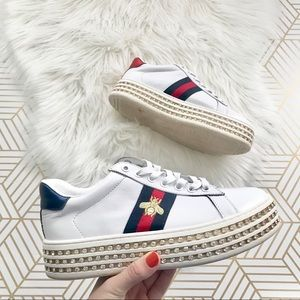 Gucci | White Crystal New Ace Platform Sneakers